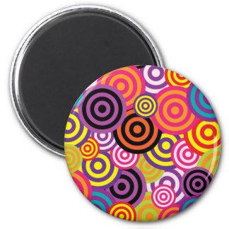 Colorful retro circles fridge magnets