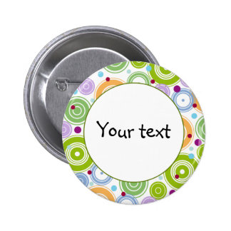 Colorful retro design 6 cm round badge