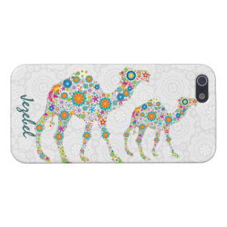 Colorful Retro Floral Camel & White Damasks Case For The iPhone 5