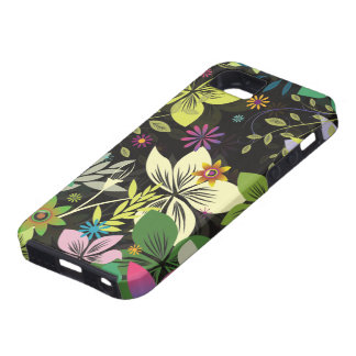 Colorful Retro Floral Collage On Black Background iPhone 5 Cases