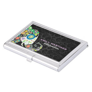 Colorful Retro Floral Elephant & Black Damasks Case For Business Cards