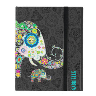 Colorful Retro Floral Elephant Design 2 Covers For iPad