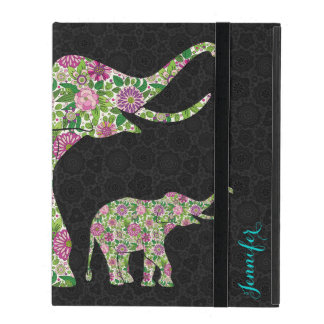Colorful Retro Floral Elephant Design 3 iPad Cover