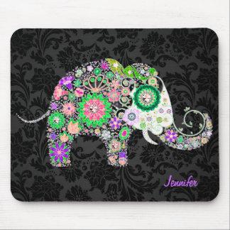 Colorful Retro Floral Elephant & Diamonds 3 Mouse Pad