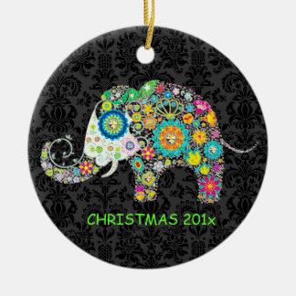 Colorful Retro Floral Elephant Illustration Round Ceramic Decoration