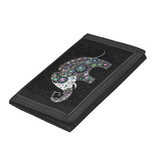 Colorful Retro Floral Elephant Tri-fold Wallet