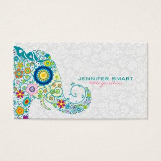 Colorful Retro Floral Elephant & White Damasks Business Card