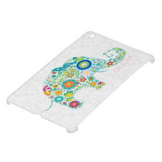 Colorful Retro Floral Elephant White Damasks iPad Mini Cover