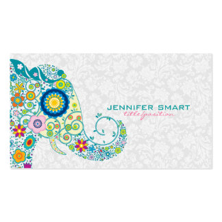 Colorful Retro Floral Elephant & White Damasks Pack Of Standard Business Cards
