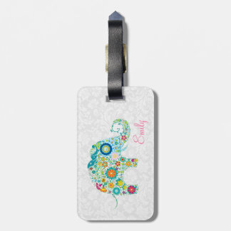 Colorful Retro Floral Elephant White Damasks Tags For Bags