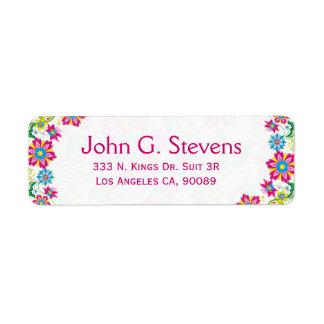 Colorful Retro Floral Frame Return Address Label