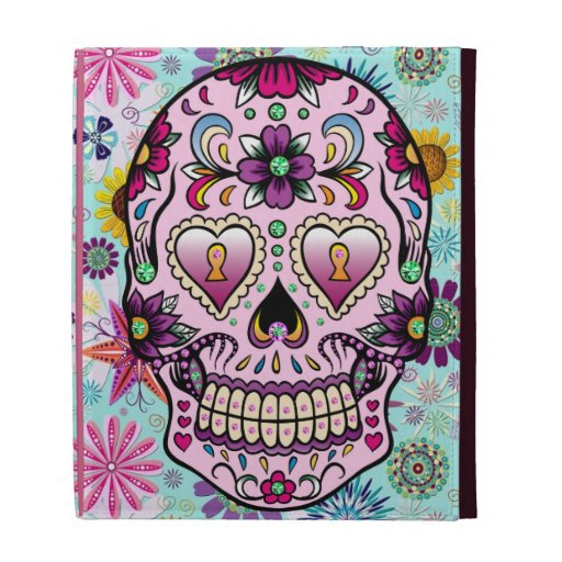 Colorful Retro Floral Skull & Flowers 2 iPad Folio Case