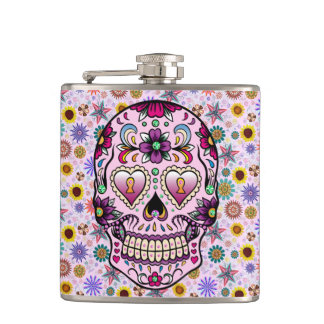 Colorful Retro Floral Skull Pink Tint 2 Hip Flask