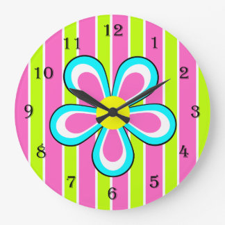 Colorful Retro Flower Clock -- Hot Pink and Lime