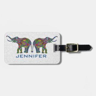 Colorful Retro Flower Elephant 3c Design Bag Tag