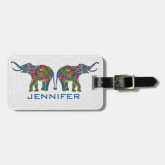 Colorful Retro Flower Elephant 3c Design Luggage Tag