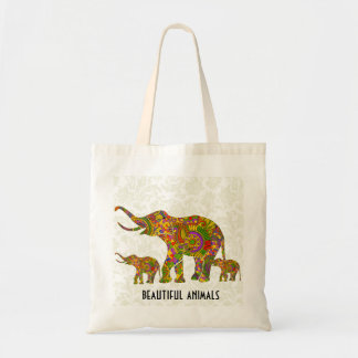 Colorful Retro Flower Elephant 4 Tote Bag