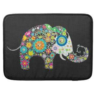 Colorful Retro Flower Elephant Design 2 Sleeve For MacBook Pro
