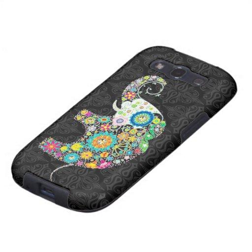 Colorful Retro Flower Elephant Design Galaxy SIII Cases