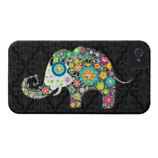 Colorful Retro Flower Elephant Design Case-Mate iPhone 4 Case