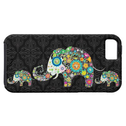 Colorful Retro Flower Elephant Family iPhone 5 Cases