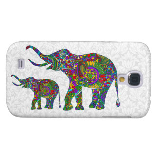Colorful Retro Flower Elephant White Damasks Samsung Galaxy S4 Case