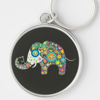 Colorful Retro Flower Elephant With Diamond Studs Key Ring