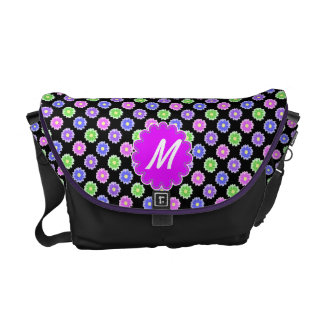Colorful Retro Flower Pattern Monogram Courier Bags
