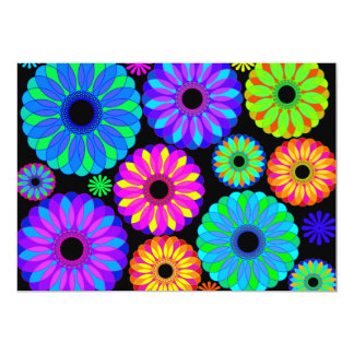 Colorful Retro Flower Patterns on Black Background Card