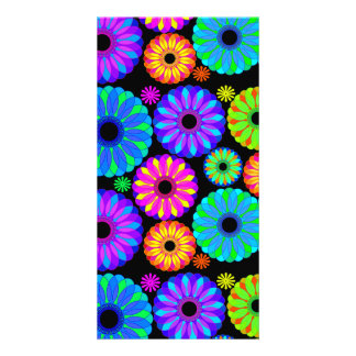 Colorful Retro Flower Patterns on Black Background Photo Card