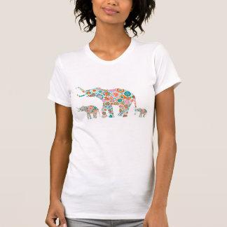 Colorful Retro Flowers 4 Elephant Family T-Shirt