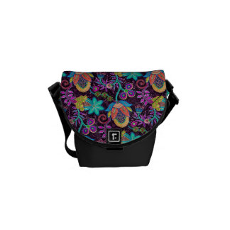 Colorful Retro Flowers Design-Glass-Beads Look Commuter Bag