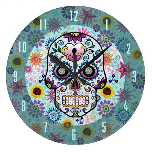 Colorful Retro Flowers & Diamonds Skull Design Wall Clock