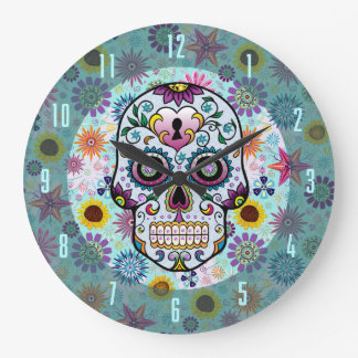 Colorful Retro Flowers & Diamonds Skull Design Large Clock