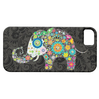 Colorful Retro Flowers Elephant Design iPhone 5 Cover