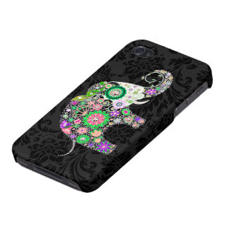 Colorful Retro Flowers Elephant Diamond Studs. Covers For iPhone 4