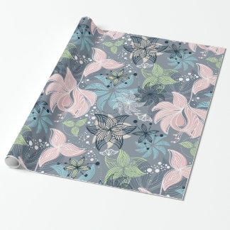 Colorful Retro Flowers Pattern Wrapping Paper