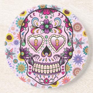 Colorful Retro Flowers Skull Coaster