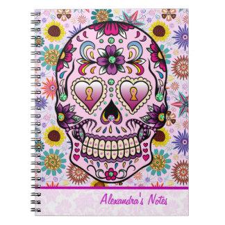 Colorful Retro Flowers Skull Spiral Notebooks