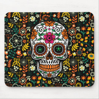 Colorful Retro Flowers Sugar Skull Mouse Pad
