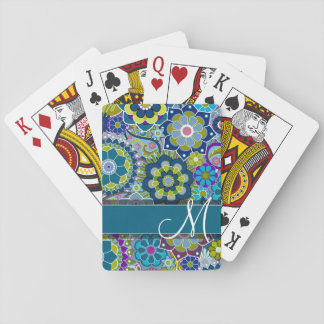 Colorful Retro Flowers with Monogram Playing Cards