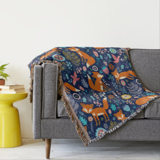 Colorful Retro Foxes And Flowers Pattern Throw Blanket