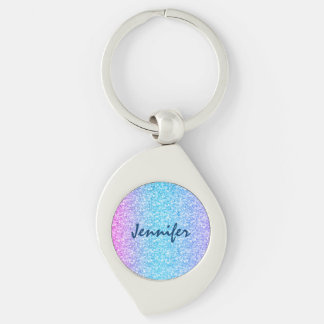 Colorful Retro Glitter And Sparkles Silver-Colored Swirl Key Ring