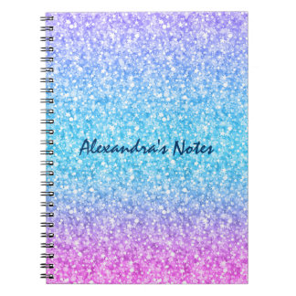 Colorful Retro Glitter And Sparkles Notebook