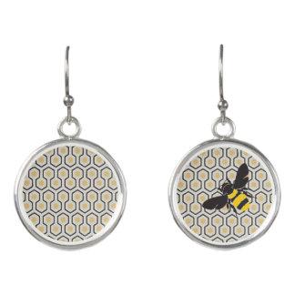 Colorful Retro Honeycomb Grid Pattern Earrings