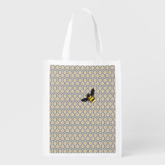 Colorful Retro Honeycomb Grid Pattern Reusable Grocery Bag