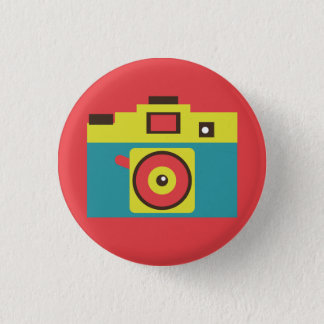 Colorful Retro Instant Camera (Blue) Flair 3 Cm Round Badge