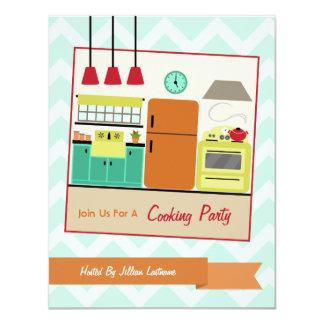 Colorful Retro Kitchen Cooking Party Invite