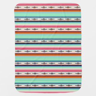 Colorful Retro Mexican Textile Pattern Receiving Blanket