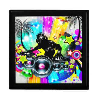 Colorful Retro Music Theme-DJ  Spinning Records Gift Box